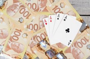 Canadian Money and Casino Cards
