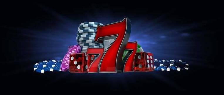 casino chips, dice, and 777